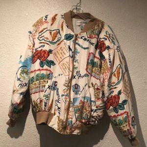 1980's Silk printed bomber Jacket - silk -medium